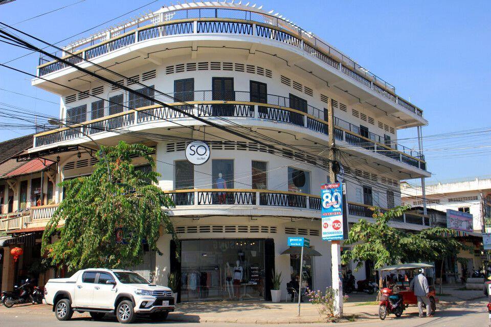 Gut erhaltene und liebevoll sanierte Architektur in Battambang