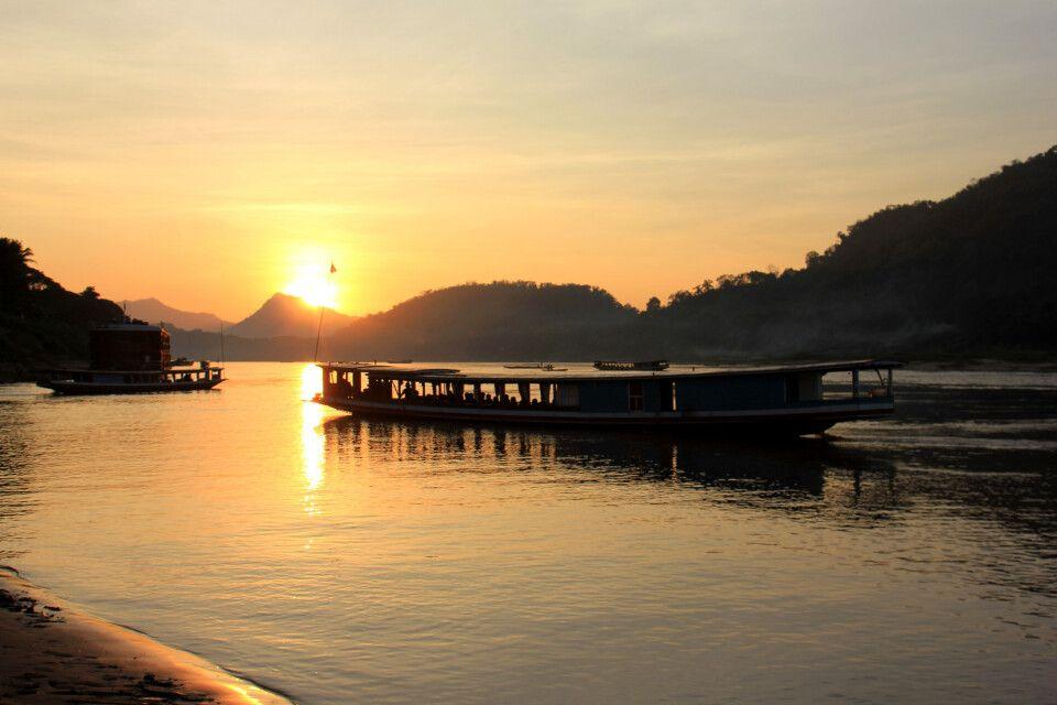 Sonnenuntergang am Mekong in Luang Prabang