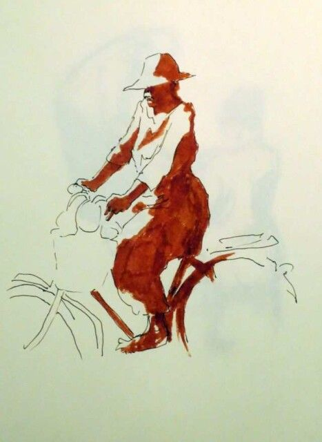 Radfahrerin auf dem Weg in die Stadt