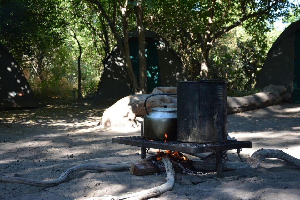 Nach dem San-Besuch geht es nach Maun, wo sich die Gruppe auf zwei Nächte im Camp inmitten des Okavango-Deltas vorbereitet. Geschlafen wird komfortabel in gemütlichen Safari-Zelten im Campingbett – ganz kuschlig mit Decke und Kissen. Und die Geräuschkulis