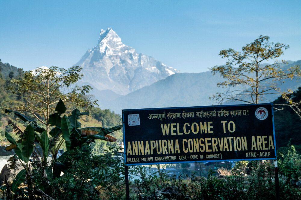 """Ende der grandiosen Annapurna-Runde. Der Machhapuchare, auch Fishtail genannt, """"verabschiedet"""" uns"""