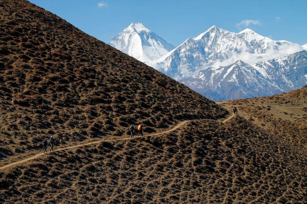 Imposante Eisriesen zum Greifen nah: Dhaulagiri (8167m) und Tukuche Peak (6920m)