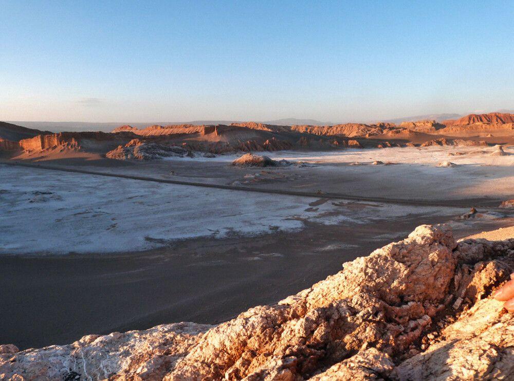 Das Valle de la Luna in der Atacama-Wüste bei Sonnenuntergang