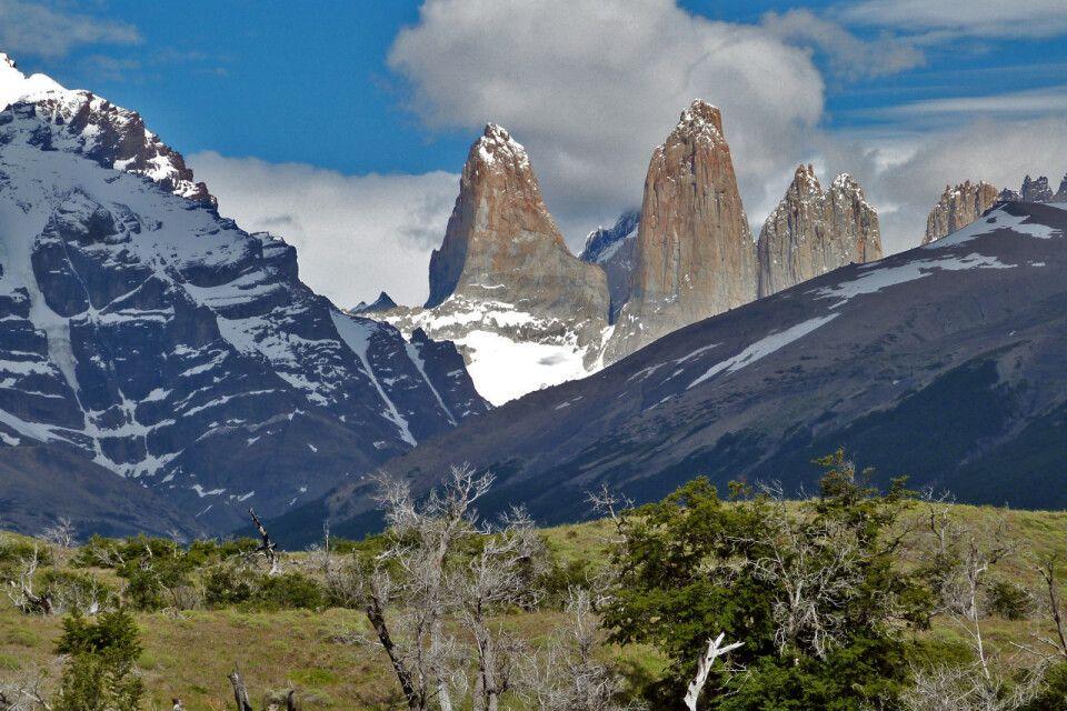 Panorama des NP Torres del Paine - wir hatten Wetterglück