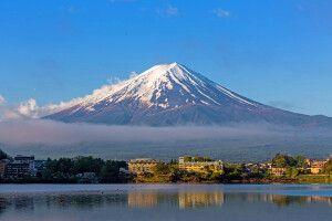 Blick von Kawaguchiko auf den Fuji-san