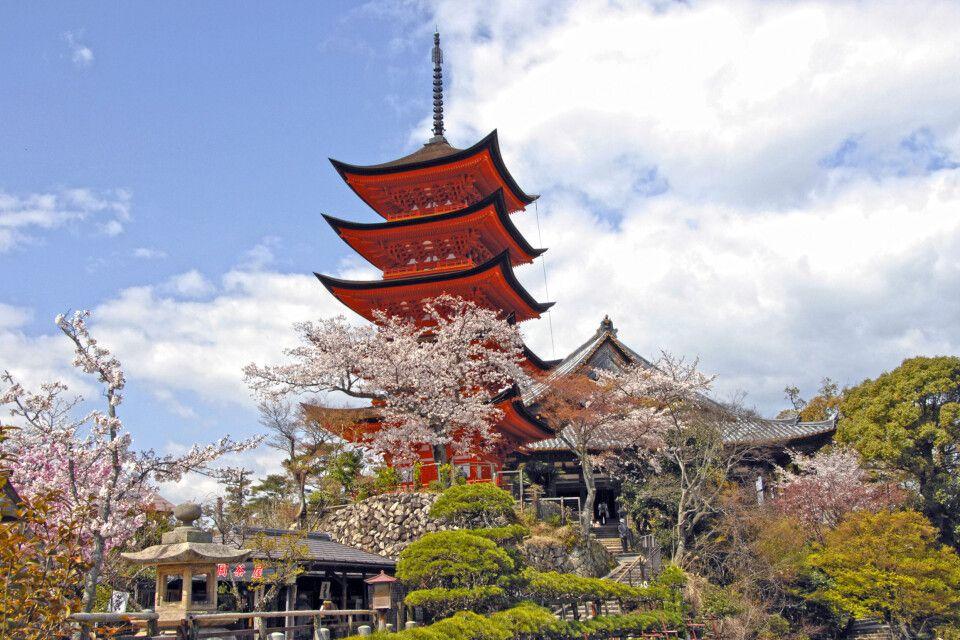 Die 5-stöckige Pagode auf der Insel Miyajima . eine von Japans drei schönsten Landschaften