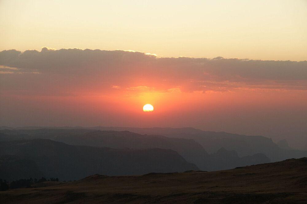 Sonnenuntergang über den Semien-Bergen