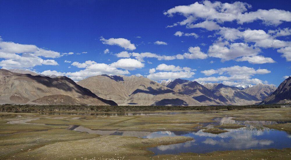 Ladakh Nubra Valley Blick auf die Berge von Hundar Dog