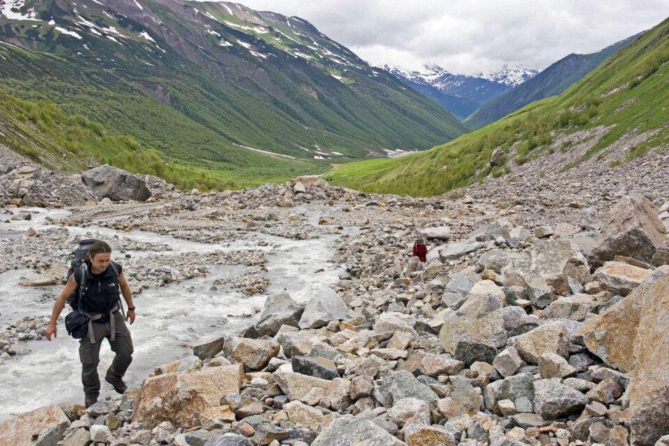 Hoch zum Schachara-Gletscher