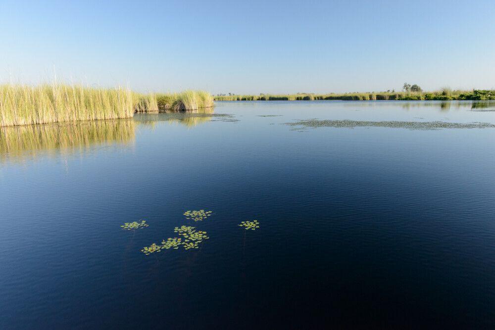 Die weiten Wasserflächen und die schmalen Durchlässe des Deltas erkundet man am besten per Boot.