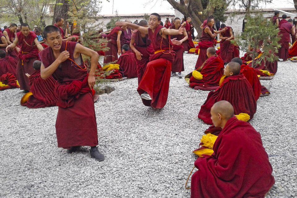 Debattierende Mönche im Kloster Sera