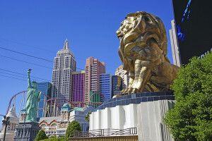 Blick vom MGM zum New York New York-Hotel, Las Vegas, Nevada