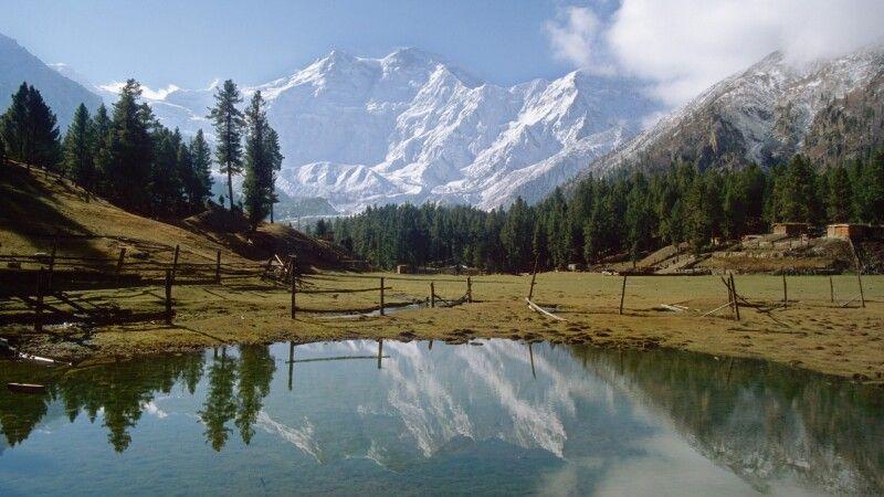 Der Nanga Parbat spiegelt sich im Gewässer auf der malerischen Märchenwiese. © Diamir