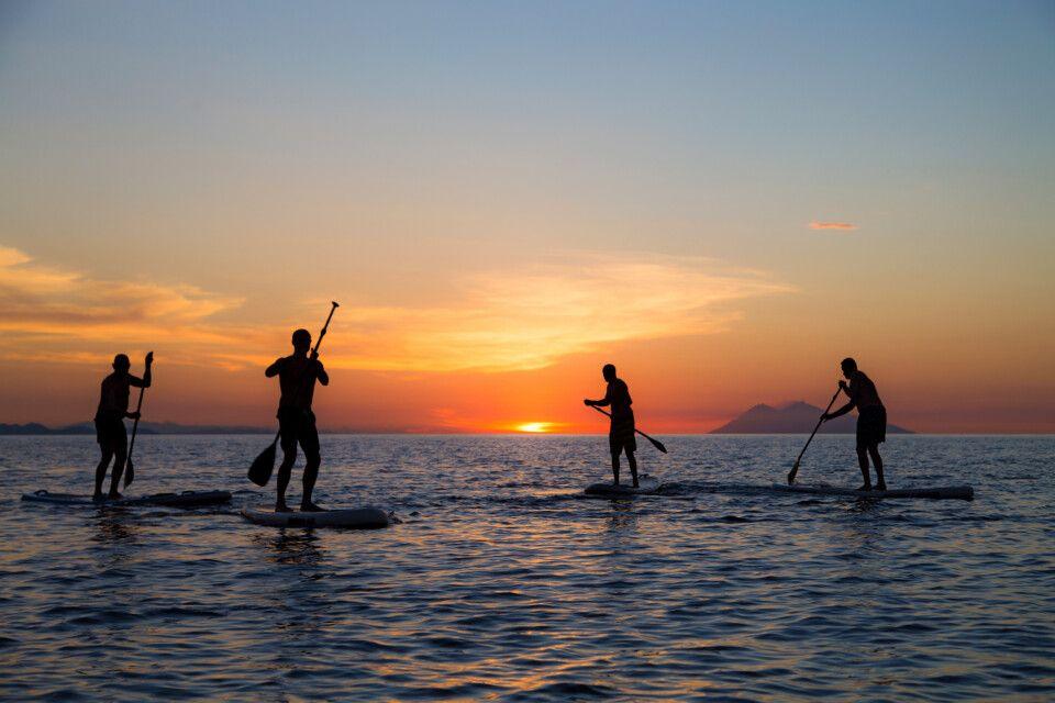 Stand Up Paddling zum Sonnenuntergang