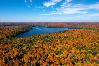 Traumhafte Indian-Summer-Aussicht im Algonquin Park, Ontario