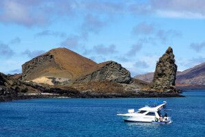 Blick auf die Galapagosinsel Bartolome