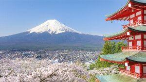 Blick auf den Fuji-san vom Arakurayama Sengen Park