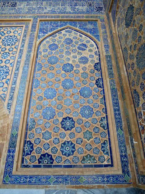 Samarkand, Registan, Ulug'bek-Medrese, Majolika und Mosaiken