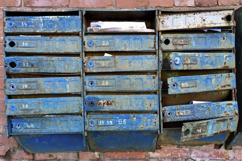 Alte Briefkästen in der Innenstadt von Wladiwostok