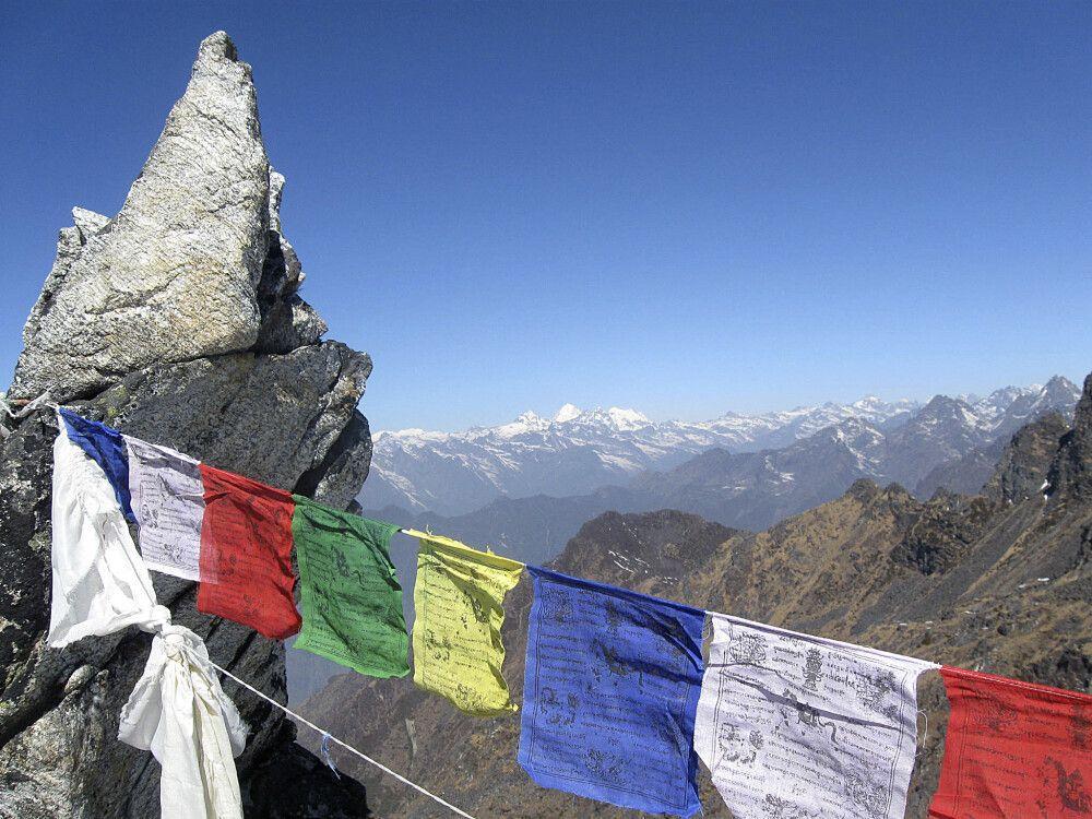 Blick vom Mirgin-La-Pass in Richtung Everest