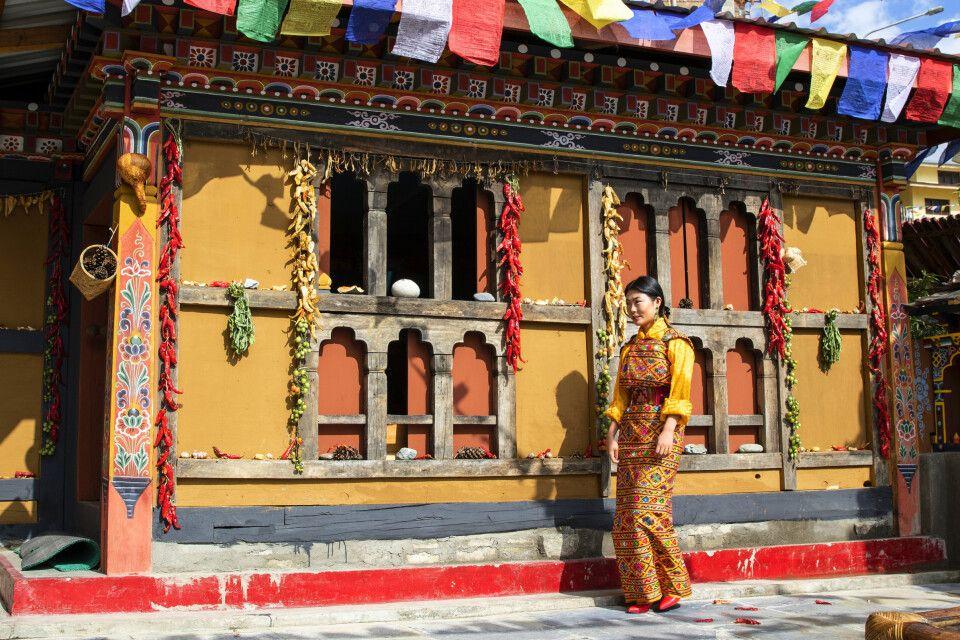 Häuserfassade in Bhutan