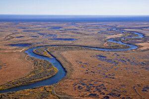 Kronotsky-Fluss zum Pazifik hin
