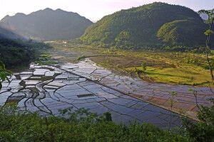 Blick auf die fruchbaren Felder in der Abendsonne bei Mai Chau