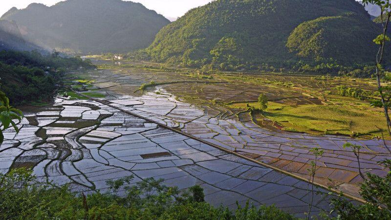 Blick auf die fruchbaren Felder in der Abendsonne bei Mai Chau © Diamir