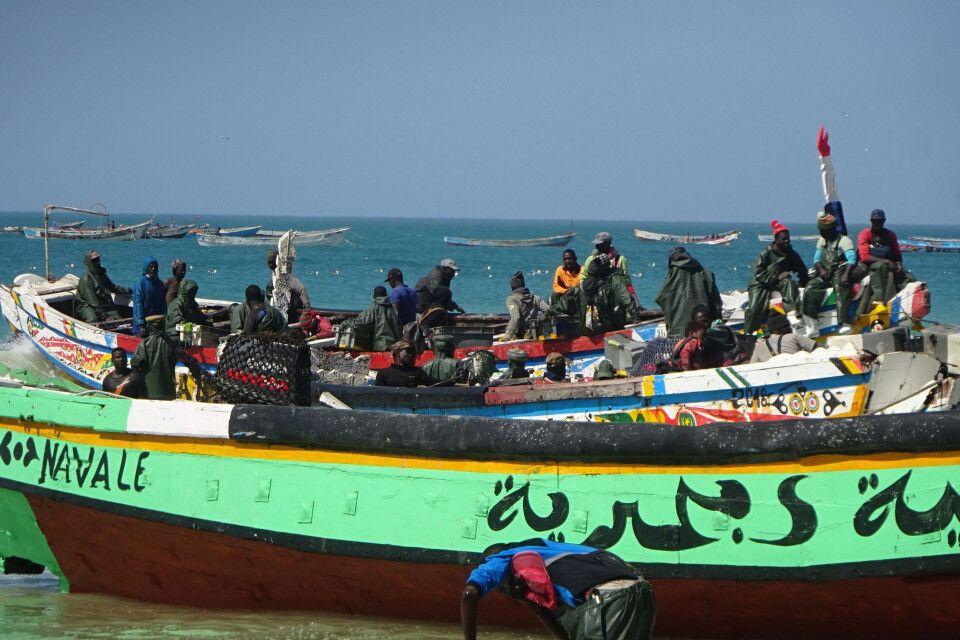 Boote an der Küste Mauretaniens
