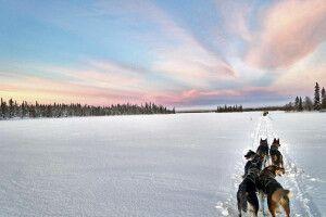 Verschneites weites Finnland
