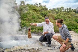 Michél Pretzsch beim Steam Pot Dinner in Te Puia, Rotorua