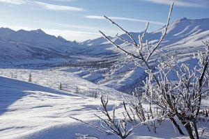Winterlich vereiste Landschaft am Dempster Highway