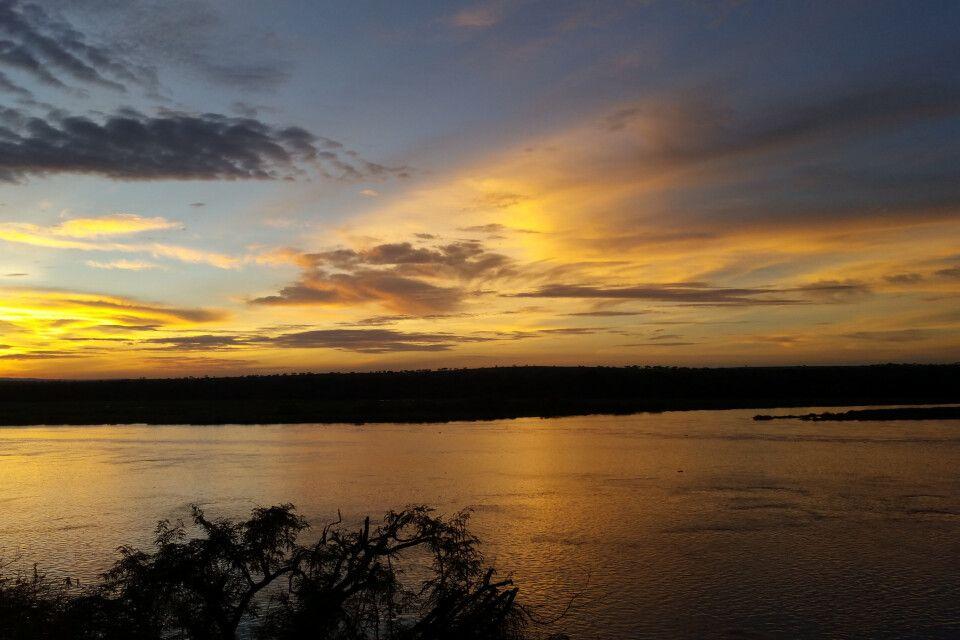 Abendstimmung am Nil in Uganda