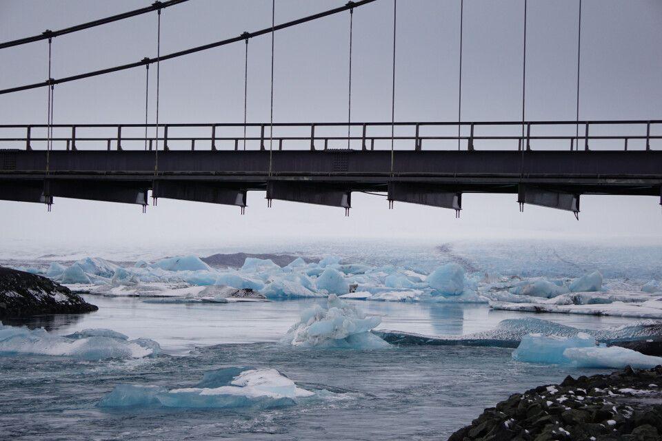 Die Eisberge der Gletscherlagune Jökullsárlón treiben direkt unter der Ringstraße durch