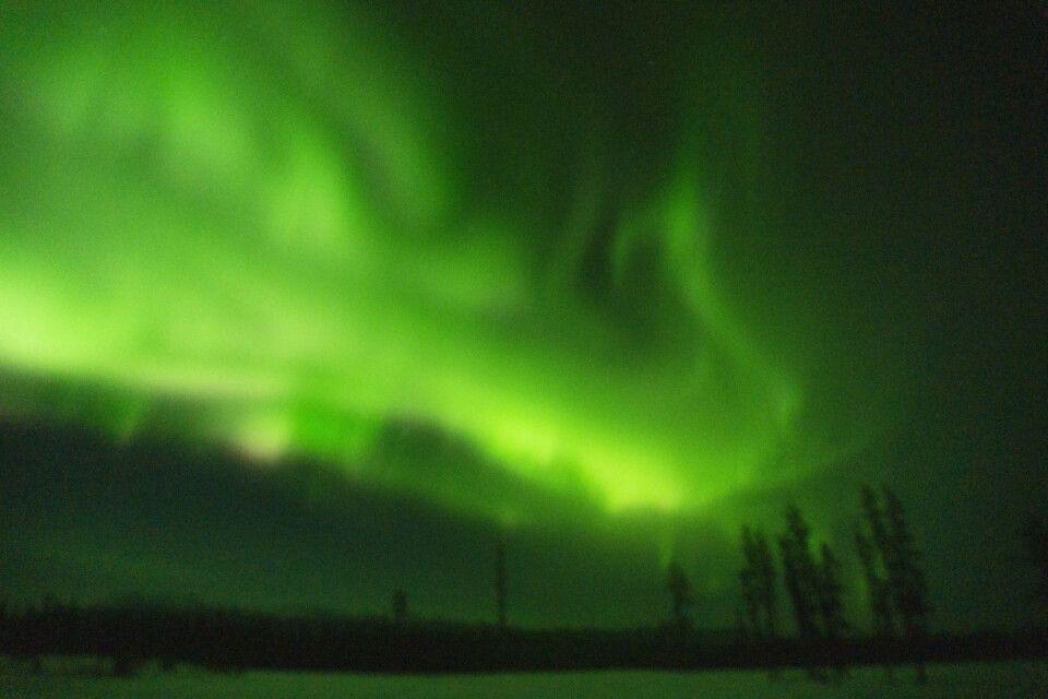 Starkes Nordlicht, aber bei minus 40 Grad versagt die Kameramechanik: Objektiv eingefroren