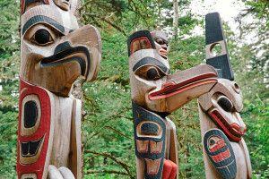 Totempfähle, Kitselas Canyon, nördliches British Columbia