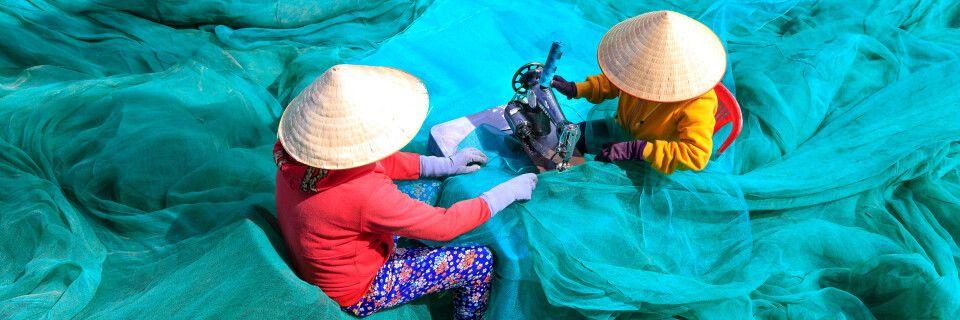 Netze reparieren nach dem Fang