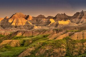 Badlands im Abendlicht, South Dakota