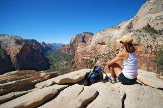 Blick über den Zion Canyon von Angel's Landing, Zion-Nationalpark, Utah