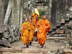 Lachende Mönche in Angkor