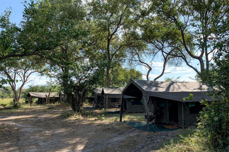 Unser Camp in Khwai - schöner kann ein Zeltplatz mitten im Busch nicht sein.