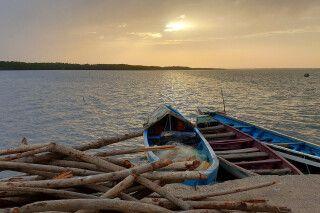 Sonnenuntergang Gambia-Fluss