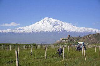 Auf einem Hügel, malersich vor dem Ararat gelegen, erhebt sich das Kloster Chor Virap.