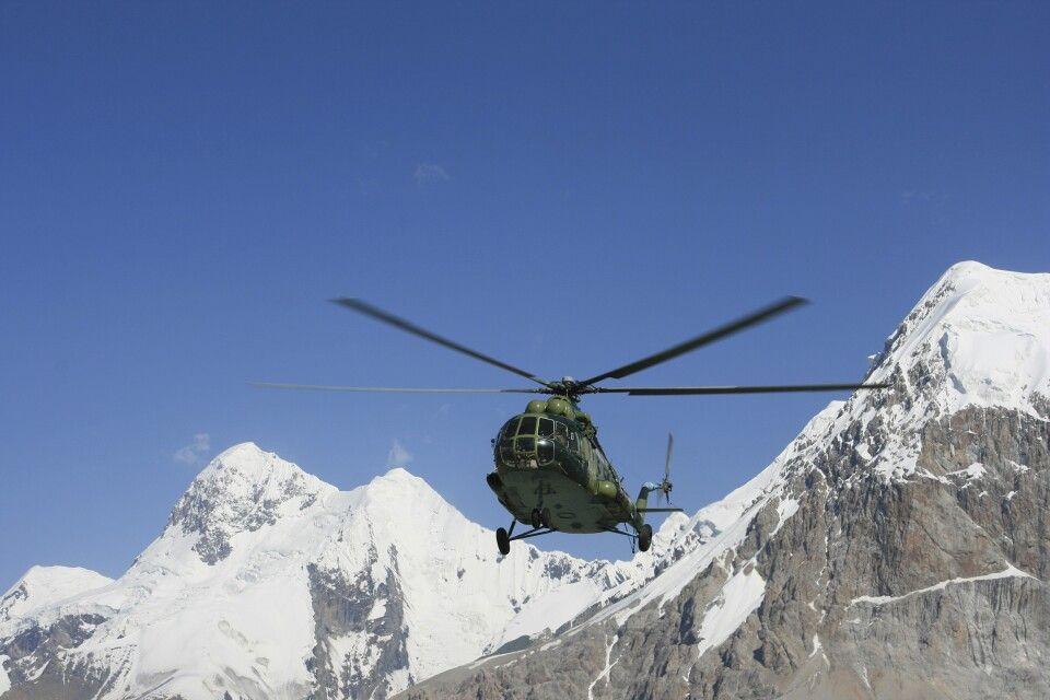 Landung des Hubschraubers im BC