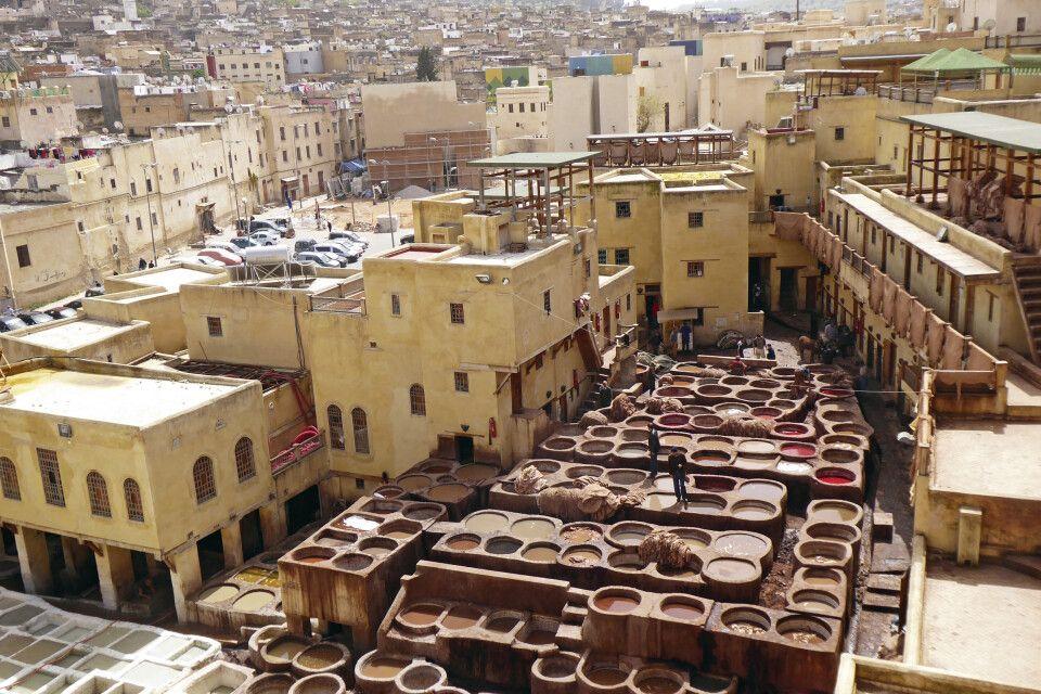 Gerberei und Färberei in der Medina von Fes