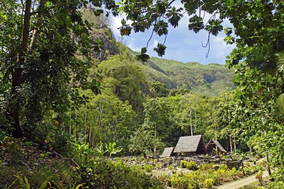 Als eine der letzten Zeugen marquesanischer Kultur steht die Kultstätte Te l'Ipona auf Hiva Oa unter UNESCO-Schutz.