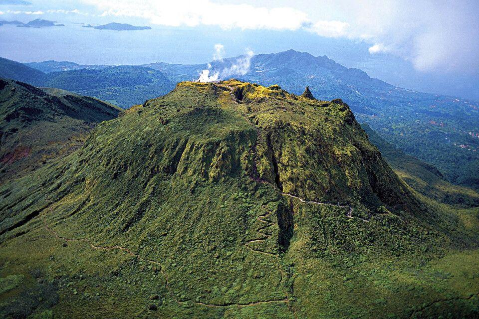 Der Vulkan Soufrière, aus der Vogelperspektive