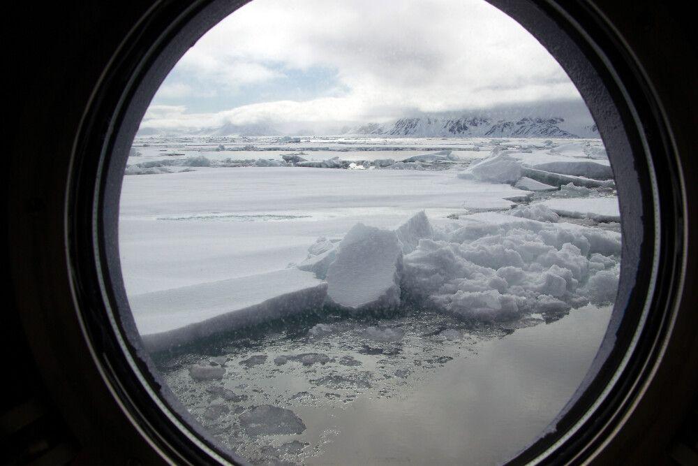Blick auf das Eis von der Kabine aus
