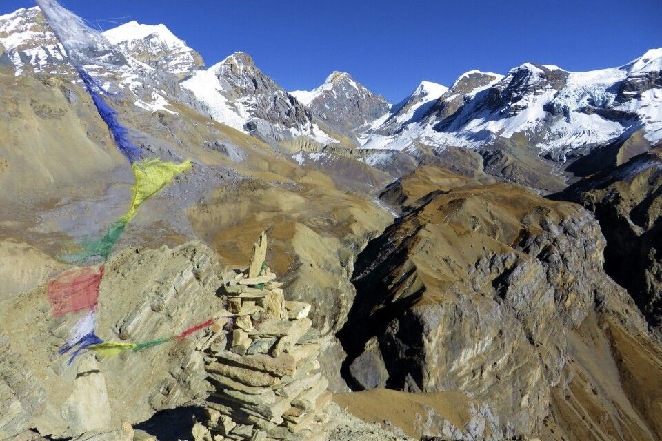 Aussicht vom Thorong La High Camp