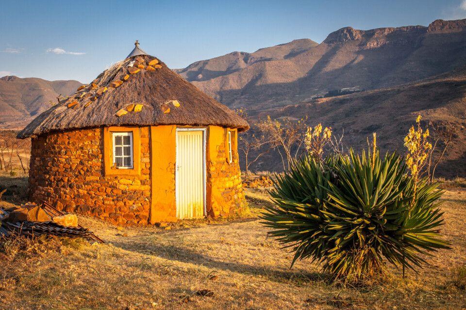 Traditionelle Hütte in Malealea, Lesotho